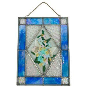 Stained Glass Sun Catcher Pressed Flowers Butterly
